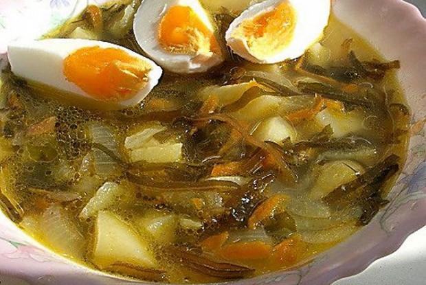 Суп с яйцом и морской капустой рецепт
