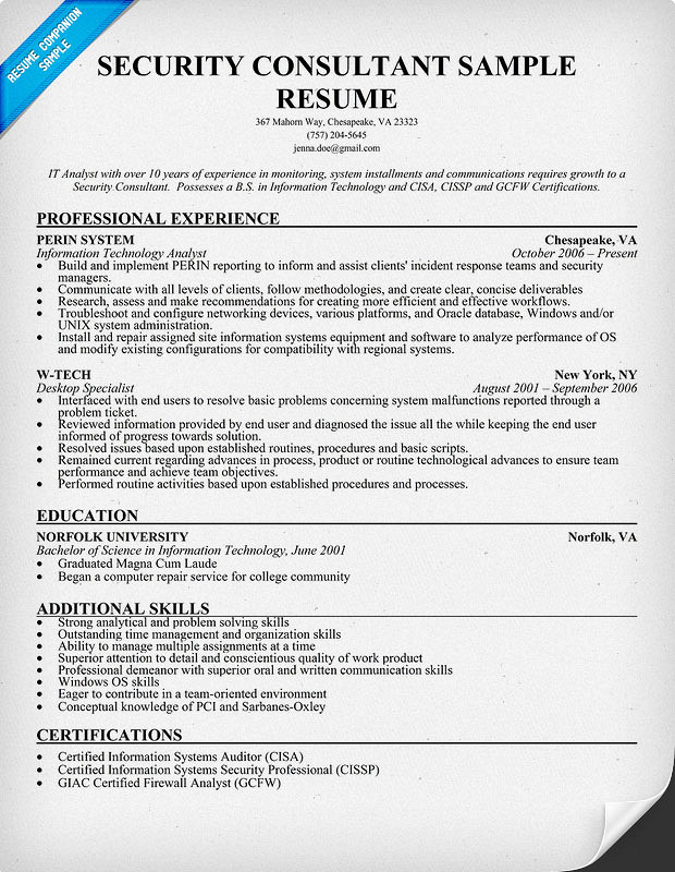 security specialist resume professional personnel security - Information Security Specialist Sample Resume
