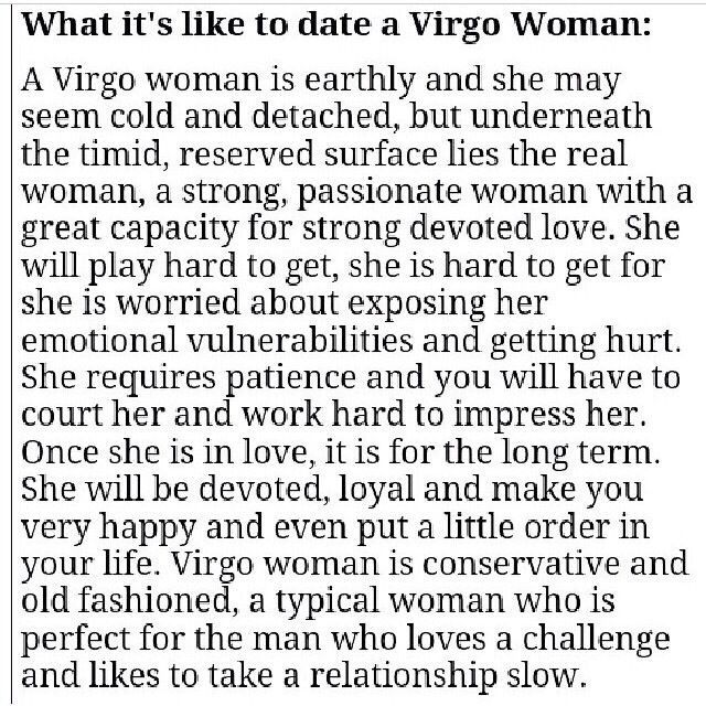 Facts about dating a virgo