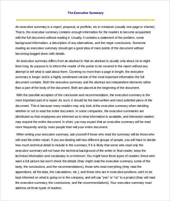 Sample of a summary essay